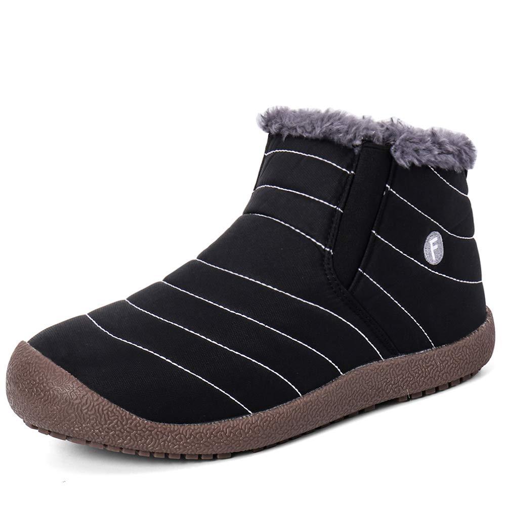 Zefani Men Women Snow Boots Outdoor Waterproof Anti-Slip Slip On Ankle Booties with Warm Fully Fur Lined Black 10 US Men / 11.5 US Women