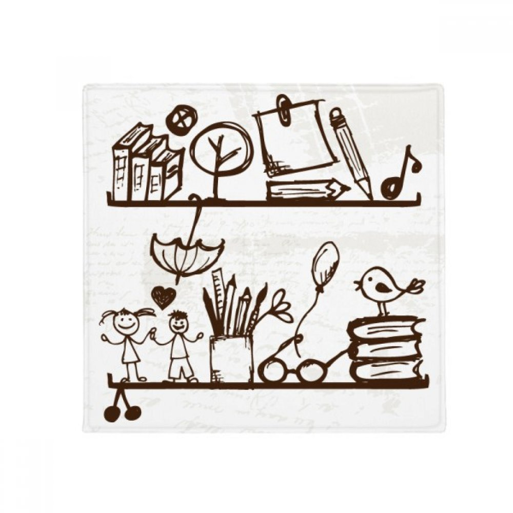 DIYthinker Children Cute Illustration Bookshelf College Anti-slip Floor Pet Mat Square Bathroom Living Room Kitchen Door 60/50cm Gift