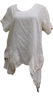 Damen Tunika Bluse Longbluse Leinen Kurzarm Lagenlook A-Stil EG 46-48 gestreift