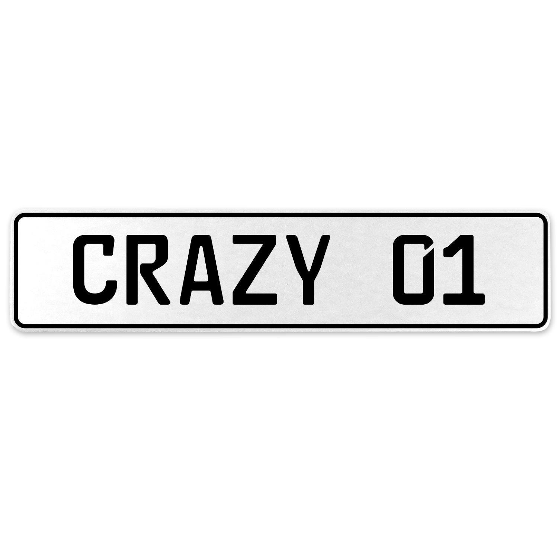 Vintage Parts 555588 Crazy 01 White Stamped Aluminum European License Plate
