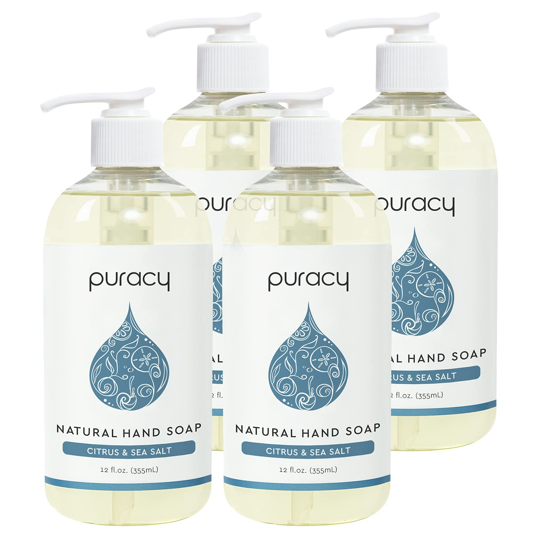 Puracy Natural Gel Hand Wash, Citrus & Sea Salt, Rich Foam, Easy Rinsing, Skin Softening, 12 Fl Oz (4-Pack) : Beauty
