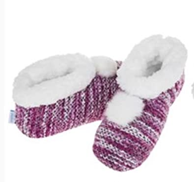 5d2a5b7e11a Womens Ladies Adult Snoozies Knit Stripe Bootie Style Slippers Assorted   Amazon.co.uk  Shoes   Bags