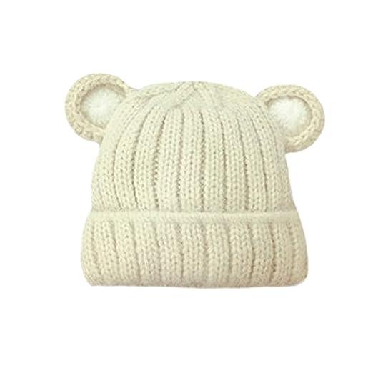 881844e04ec Amazon.com  Cute Bear Ears Hat Beanies Outdoor Baby Boys Girls Winter Warm  Wool Knitting Hat  Clothing