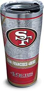 Tervis 1266680 NFL San Francisco 49ers Edge Stainless Steel Tumbler with Clear and Black Hammer Lid 20oz, Silver