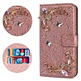 Stysen Flip Case for iPhone 6S Plus 5.5'',Leather Cover with 3D Handmade Crystal Diamonds Butterfly Glitter Floral Wallet Magnetic Clasp for iPhone 6S Plus/6 Plus 5.5''