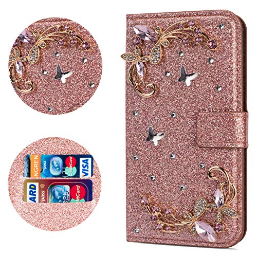 """Stysen Flip Case for iPhone 6S Plus 5.5"""",Leather Cover with 3D Handmade Crystal Diamonds Butterfly Glitter Floral Wallet Magnetic Clasp for iPhone 6S Plus/6 Plus 5.5"""""""