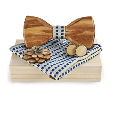 6d392281c00f5 Men's Classic Wood Bow Tie with Matching Handkerchief Cufflinks Flower  Lapel Pin Set for Party Wedding