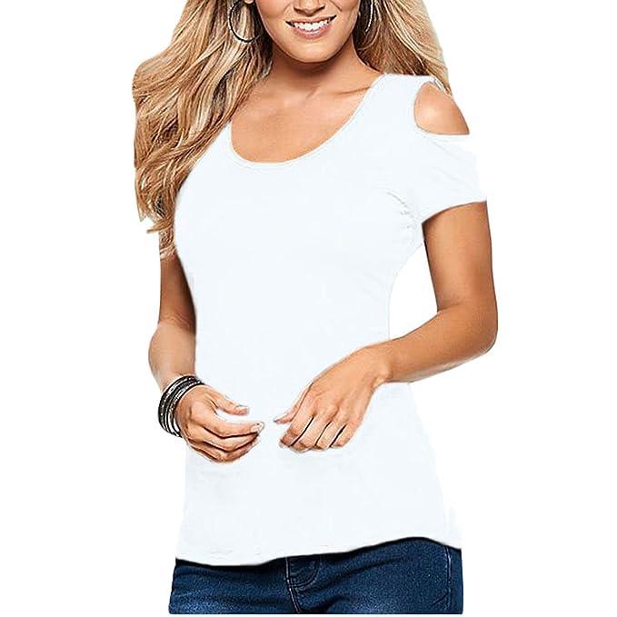 Toocool - Camiseta Mujer Camiseta Encaje Bordado Top Blusa túnicas Sexy Hombros Nude dl-1941 Bianco Small: Amazon.es: Ropa y accesorios