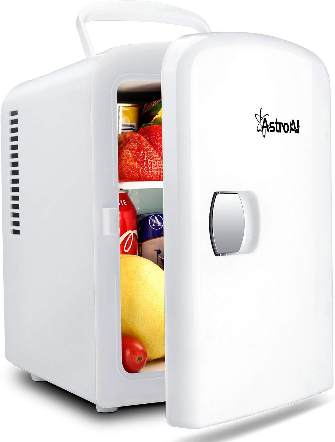 AstroAI Mini Refrigerador, Mini Nevera Portátil para el Skincare 4L 6 Latas de Refrescos, Mini Neveras 220V/12V para Enfriar y Calentar (Blanco)