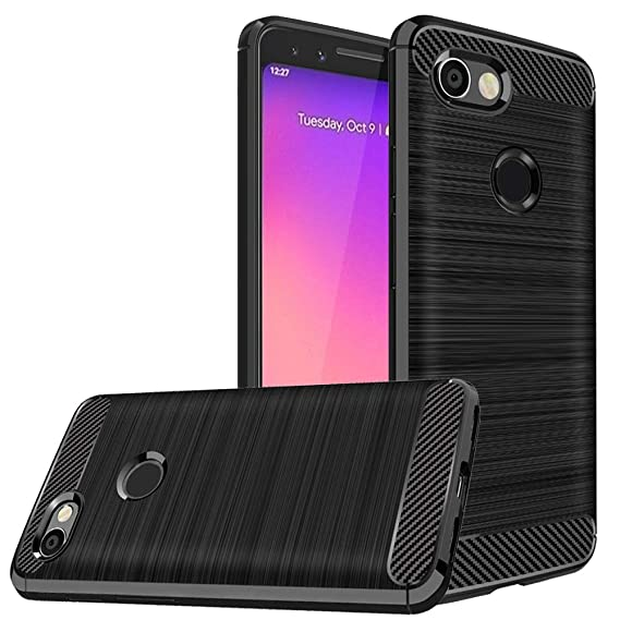 pretty nice a13b5 876e2 Dretal Google Pixel 3a Case, Carbon Fiber Shock Resistant Brushed Texture  Soft TPU Phone case Anti-Fingerprint Flexible Full-Body Protective Cover  for ...