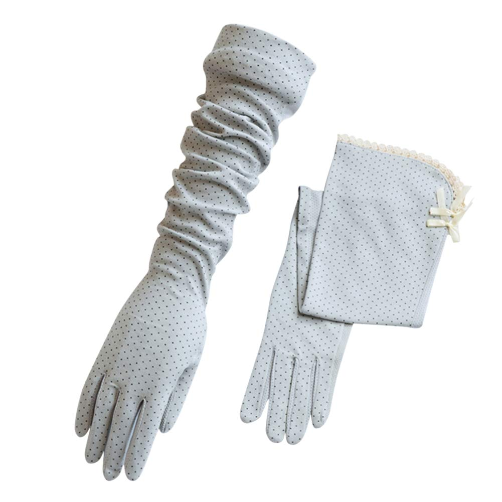 ITODA Women Lace Gloves Sunscreen Anti-UV Elegant Breathable Moisture Wicking Cooling Long Arm Sun Protection Outdoor Skin Cover