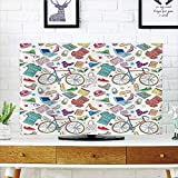 iPrint LCD TV dust Cover,Indie,Urban Hipster Accessories Pattern Colorful Doodle Clothes Shoes Computers Bicycles Decorative,Multicolor,3D Print Design Compatible 60'' TV