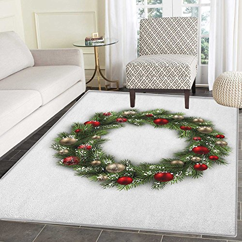 Christmas Area Silky Smooth Rugs Fresh Classical Christmas Wreath Vivid Balls Snowy Fir Felicitation Theme Floor Mat Pattern 4'x6' Green Gold Red