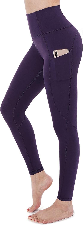 STYLEWORD Women's Yoga Pants High Waist Full-Length Workout Leggings with Pocket(Dark Purple-018K,M)