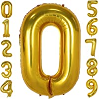 Gold Number Balloons 40inch Helium Birthday Balloons Foil Mylar Digital Balloons for Birthday Engagement Wedding Bridal…