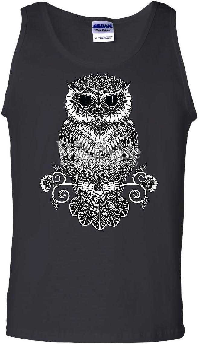 Paisley Pattern Owl Women/'s Tank Top Wildlife Nature Wisdom Henna Style Top