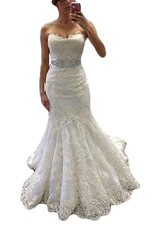 Ri Yun Women\'s Sweetheart Lace Mermaid Wedding Dresses For Bride ...