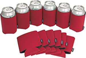 Koozie Can Cooler Blank Beer Coozie for Cans and Water Bottles, Bulk DIY Insulated Beverage Holder Personalized Gifts for Events, Bachelorette Parties, Weddings, Birthdays - Pack of 12 Sleeves (Red)