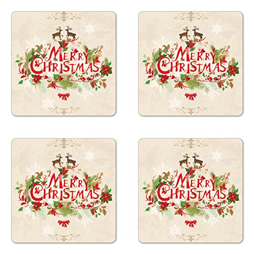 Merry Christmas Coaster - Ambesonne Christmas Coaster Set of 4, Merry Xmas Wish with Fir Tree Branches Poinsettia Flowers Birds and Deer, Square Hardboard Gloss Coasters for Drinks, Standard Size, Beige Red