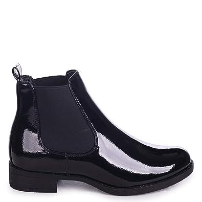4ca4d3a69a9 Linzi AIDA - Black Patent Classic Chelsea Boot with Elasticated Side Panels