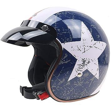 Lidauto Cascos de Moto Retro Medio Ciclomotor Alta Negro Mate de Hombre Mujer,M