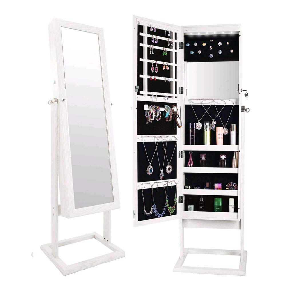 Bonnlo Jewelry Armoire Stable Square Stand with 6 LEDs with 4 Adjustable Angle Tilting, Well Packed by styrofoam & Stiffer Covering, Lockable Heavy Duty Bedroom Make up Mirror Cabinet Organizer Closet by Bonnlo (Image #1)
