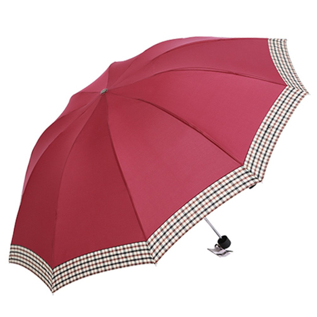 Guoke The Folding Umbrella Grid 10 Bones Reinforced Wind King-Size Double Fine Rain With Two Umbrellas, Wine - Red