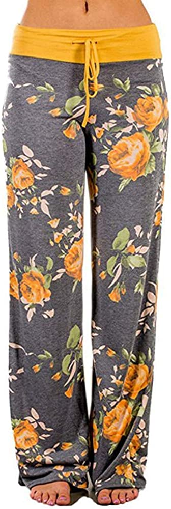 JOFOW Womens Wide Leg Pants Flowers Floral Print Drawstring Loose Long Trousers