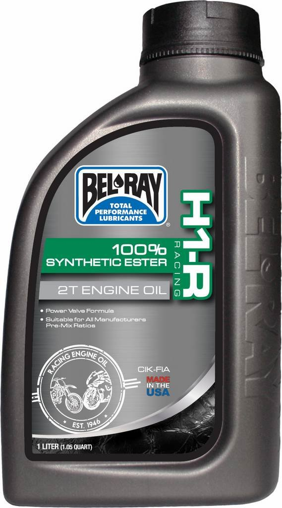 Bouteille huile moteur 1L Bel-Ray 2T H1-R Racing 100% Synthetic Ester BEL RAY 35972