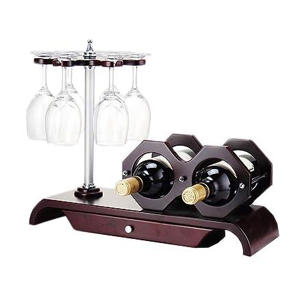 Estante del vino Modelo Decoración Adornos de portavasos de Madera Maciza Al revés Soporte de exhibición