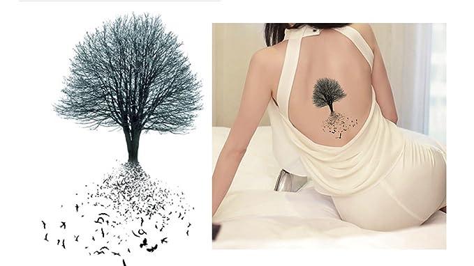 Árbol y pájaro Tattoo Negro adhesivas de tatuajes sc887: Amazon.es ...