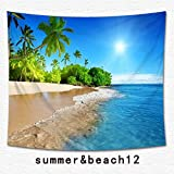 Beach Tropical Palm Tapestry Multi-purpose Ocean Decor Vacation Surf Decor Tapestry Wall Hanging for Bedroom Living Room Hawaii Beach Bright Sea Theme Print Dorm Decoration (12, 59Wx51L)