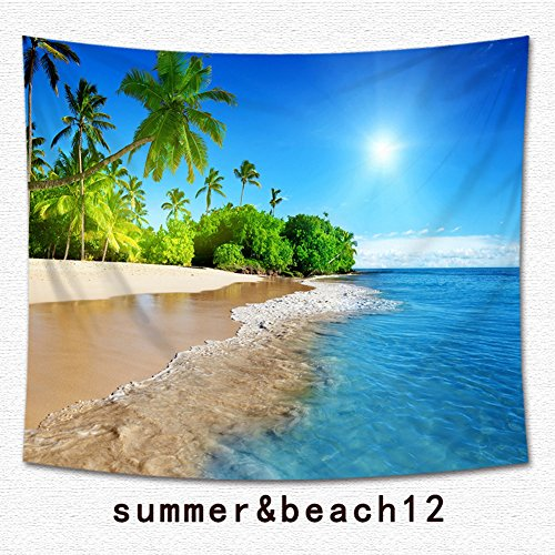 Beach Tropical Palm Tapestry Multi-purpose Ocean Decor Vacation Surf Decor Tapestry Wall Hanging for Bedroom Living Room Hawaii Beach Bright Sea Theme Print Dorm Decoration (12, 59Wx51L) by QCWN