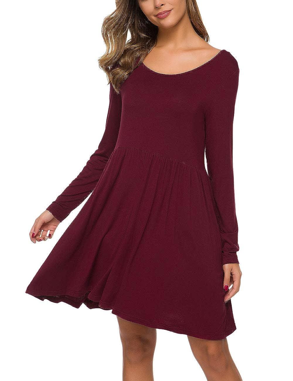Womens Long Sleeve Loose Maxi Dresses Casual Short Dresses Tunic Dress