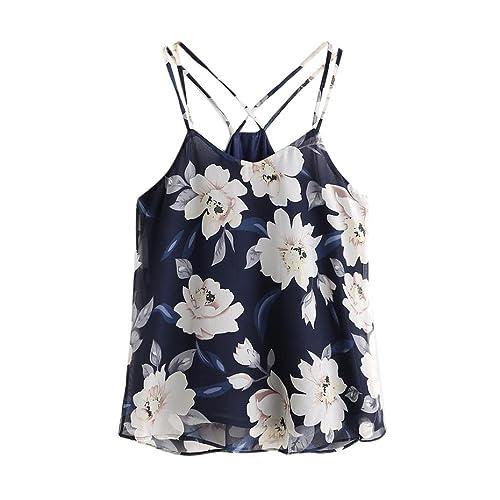 Winwintom Mujeres sin mangas de gasa atado al cuello tanque Crop tops chaleco blusa camiseta