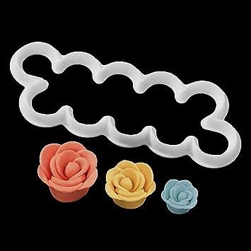 Newcomdigi 3 Pcs Plantillas para Decoración de Tartas Pasteles, Cortador de Flores Rosa Volantes Molde