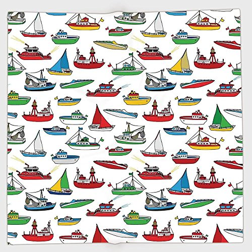 Polyester Bandana Headband Scarves Headwrap,Nautical,Bunch of Colorful Vessel Speedboat Fishing Trawler Motorboat Water Vehicle Concept,Multicolor,for Women (Concept Two Premium Boat)