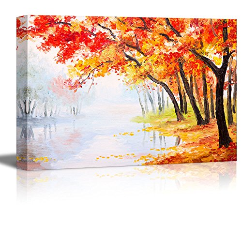 Oil Painting Landscape Autumn Forest near the Lake Orange Leaves Wall Decor ation Print
