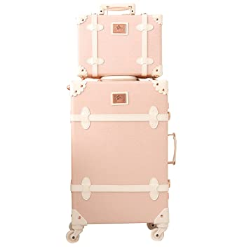 412b49ece9b3 Travel Vintage Luggage Sets Cute Trolley Suitcases Set Lightweight Trunk  Retro Style for Women Elegant Pink 26