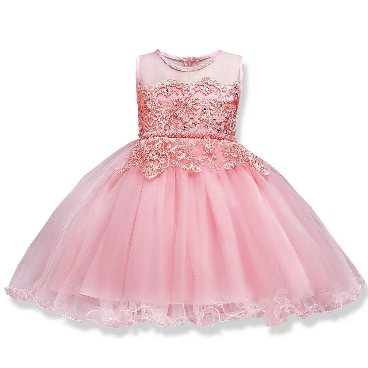 Big Girls Dresses Teen Princess Party Birthday Prom Gowns Sleeveless Knee Length 7-16 Age of 10 Ten Big Girl Dresses Size 10-12 Lace Tulle Bridesmaid Ruffles Dresses for Girls 10-12 Pink 130