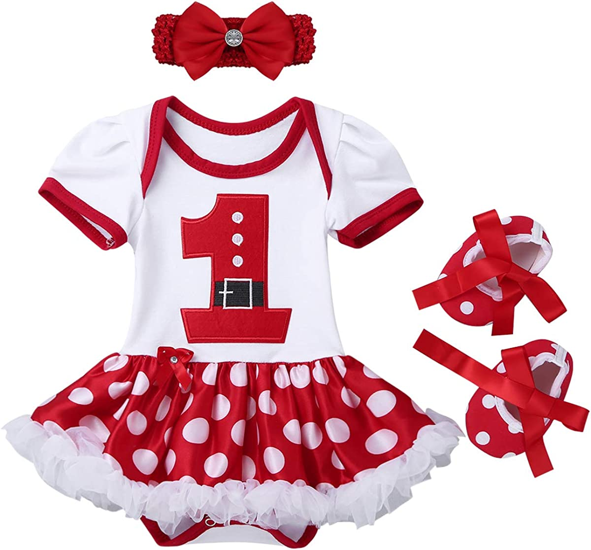 ACSUSS Infant Baby Girls Xmas Christmas Costumes Outfits Long Sleeves Romper with Bloomers Headband Oufits