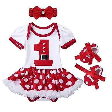 6a2b58ce6630d Alvivi Bébé Filles Mon Premier Noël Costume Princesse Père Noël Tenues  Barboteuse Robe + Bandeau +