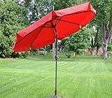 9 Foot Deluxe Red Aluminum Outdoor Patio Deck Commercial Umbrella Tilt For Sale