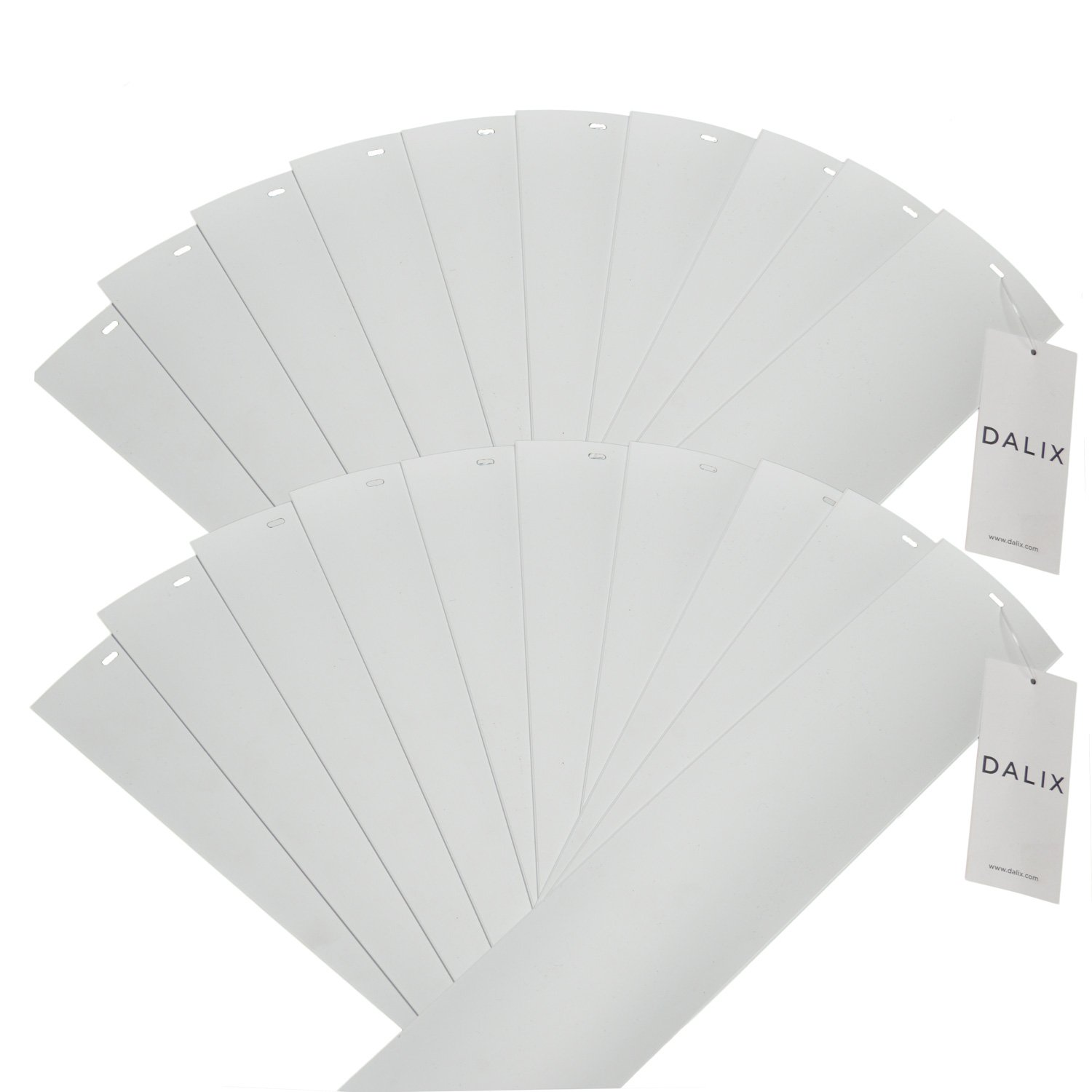 DALIX PVC Veritcal Blind Replacement Slats Curved Smooth White 82.5 x 3.5 (20-Pack) by DALIX