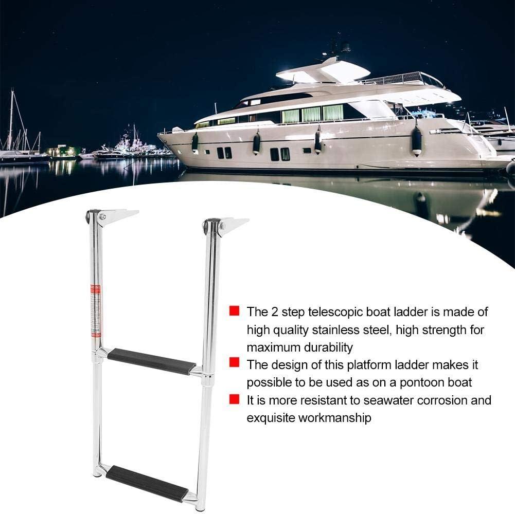 Qiilu Escalera para Barcos Escalera Marina de 2 escalones Escalera telesc/ópica de Acero Inoxidable para Barcos