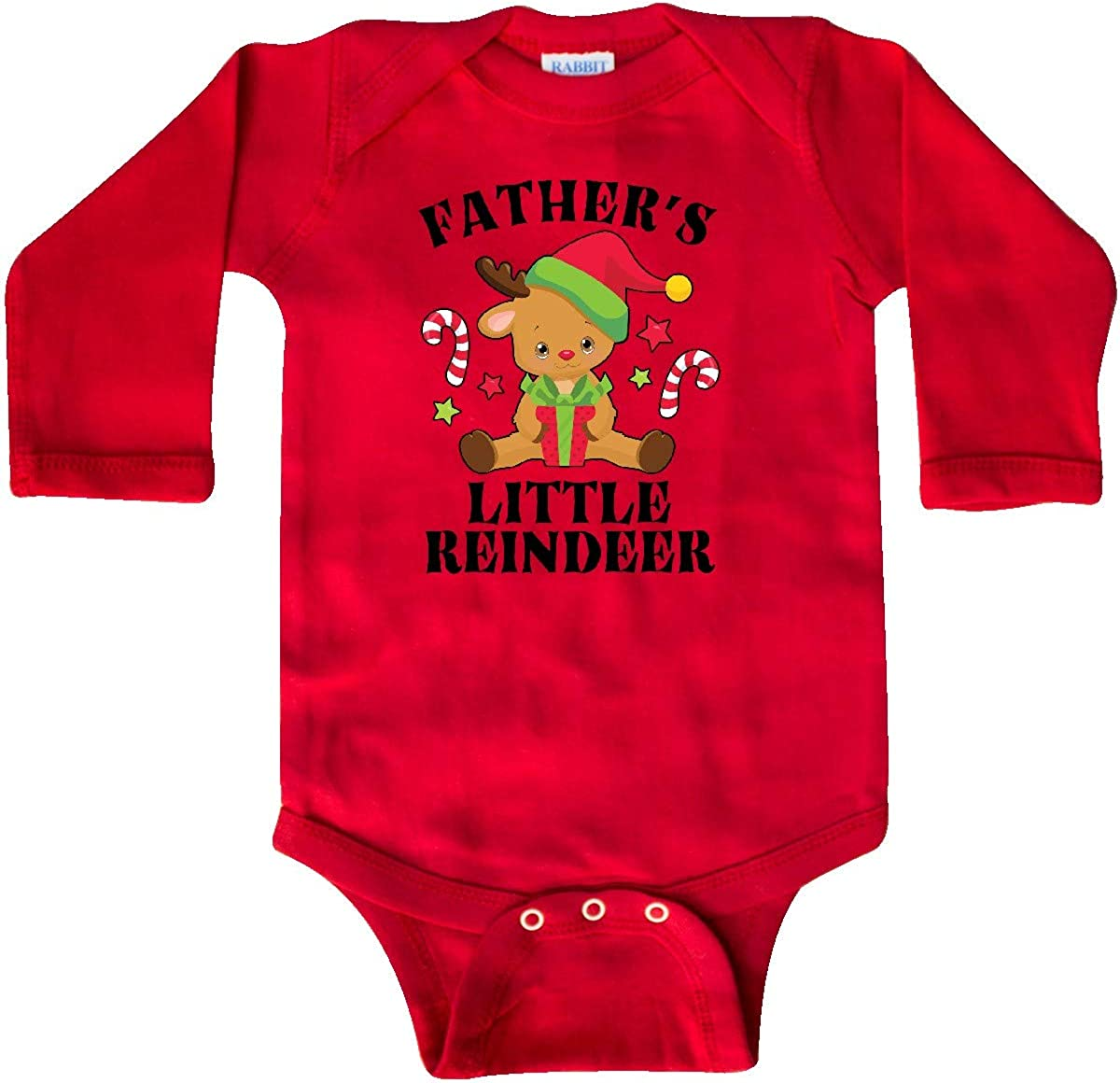 inktastic Christmas Fathers Little Reindeer with Candy Long Sleeve Creeper