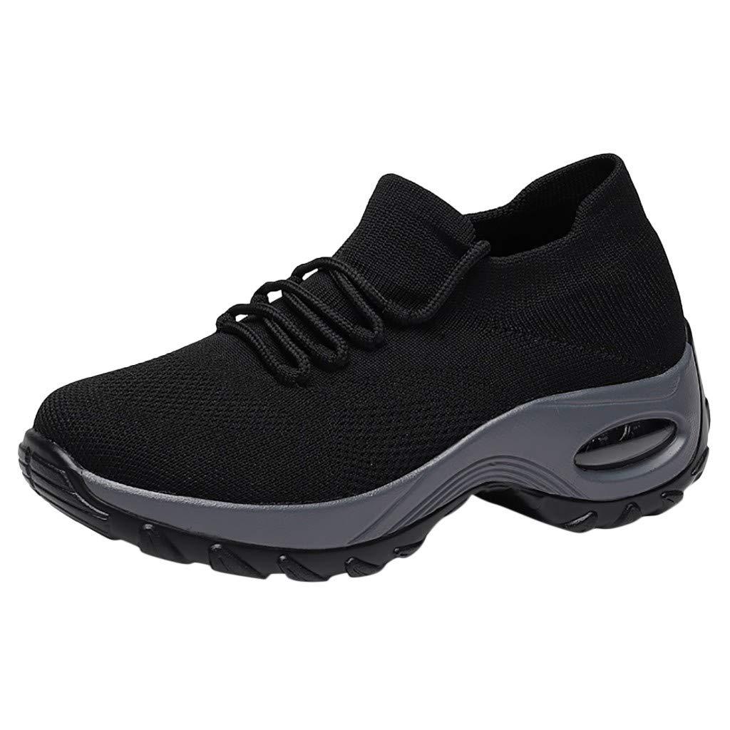 Women Thick Bottom Mesh Shoes,Frunalte Platform Buffer Cushion Sneakers Fashion Students Shoes Rocking Shoes Black by Frunalte Women Shoes