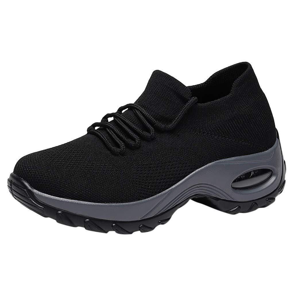 Haalife◕‿ Women's Walking Shoes Sock Sneakers - Mesh Slip On Air Cushion Lady Girls Modern Jazz Dance Easy Platform Shoes Black