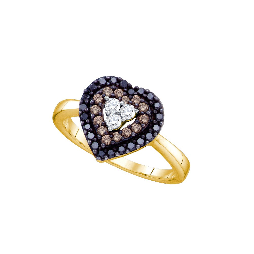 14kt Yellow Gold Womens Round Black Colored Diamond Heart Love Ring 1/2 Cttw (I2-I3 clarity; Black color)