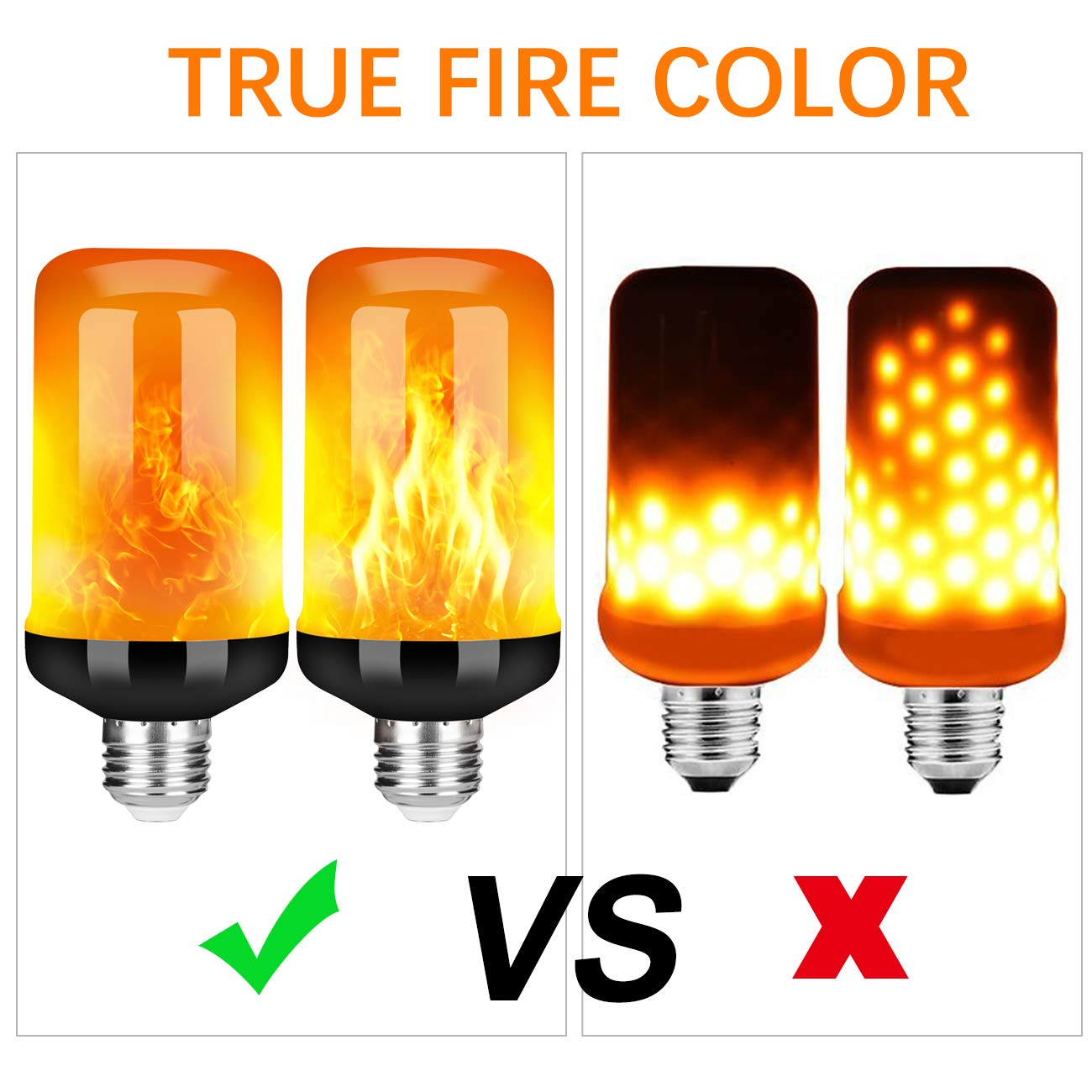 4 Pack E26 Base Flame Bulb with Upside Down Effect Upgraded 4 Modes Flickering Fire Holiday Light Halloween Decorations Y- STOP LED Flame Effect Fire Light Bulb
